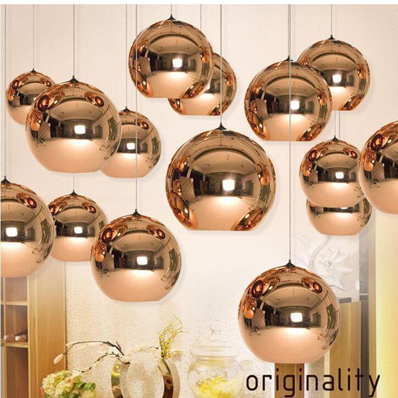 Tom Dixon Copper Round Mirror Ball Pendant Lamp Electroplating
