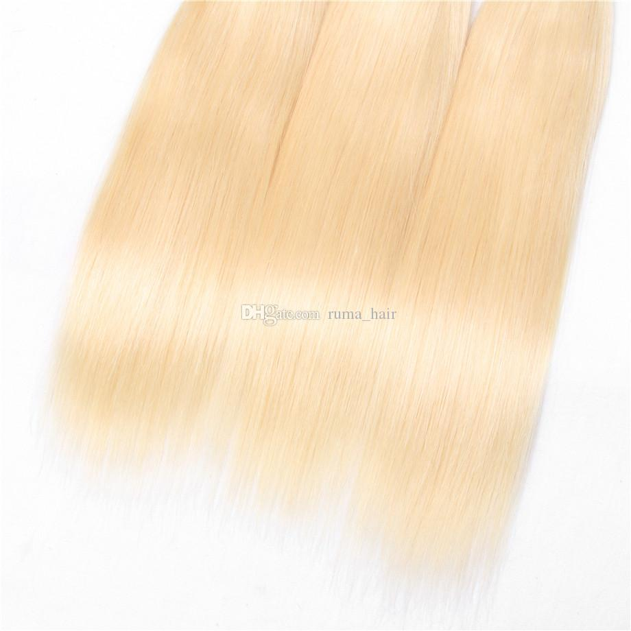 Straight Human Hair 10-30Inch Malaysian Virgin Hair Bundles With Lace Closure Platinum Blonde Silk Striaght Hair With Closure
