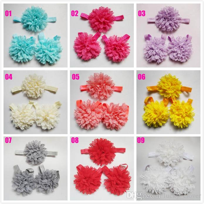 Elastic Toddler Baby Girls Lace Flower anklet Headband set infant Hair Band Foot Flower hair accessories suit SEN031