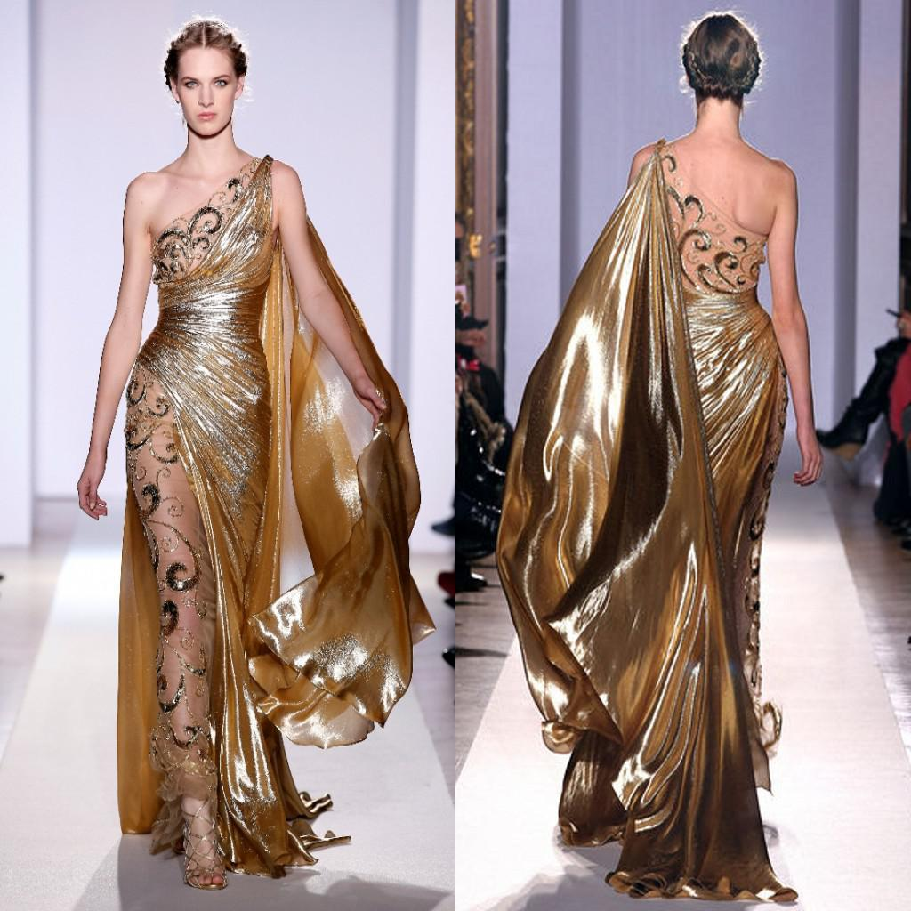 Zuhair Murad Haute Couture Appliques Gold Evening Dresses 2016 Long Mermaid One Shoulder with Appliques Sheer Vintage Pageant Prom Gowns 939