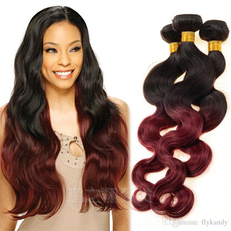 Multi Color Ombre Body Wave Human Hair Weft Extensions Fabulous Two