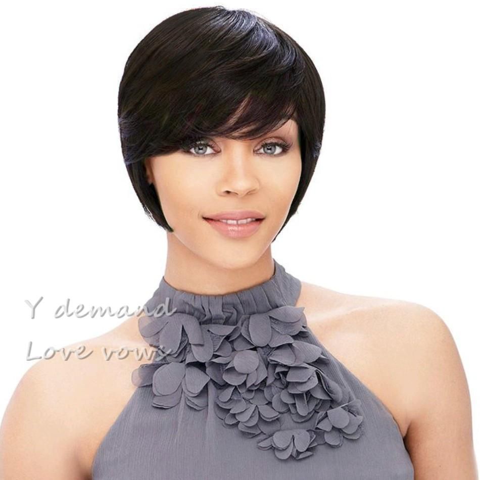 None Lace Straight Human Hair Wigs Cheap Pixie Cut Short With Baby