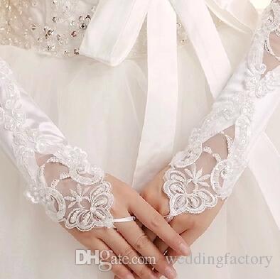 Białe lub kości słoniowej Rękawiczki ślubne Krótkie Koronkowe Aplikacje Wedding Party Rękawiczki Tanie Rękawiczki Do Brides z koralikami poniżej długości łokcia