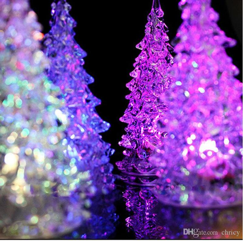 Super Beautiful Mini Acrylic Icy Crystal Color Changing LED Lamp Light Decoration Christmas Tree Gift LED Desk Decor/Table Lamp Light