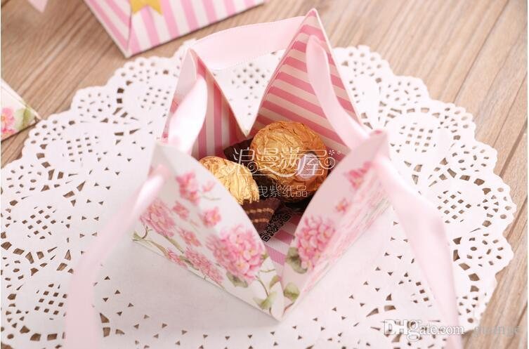 European style purple pink flower color Pearl paper triangle pyramid Wedding box Candy Box gift boxs wedding favour boxes THZ179