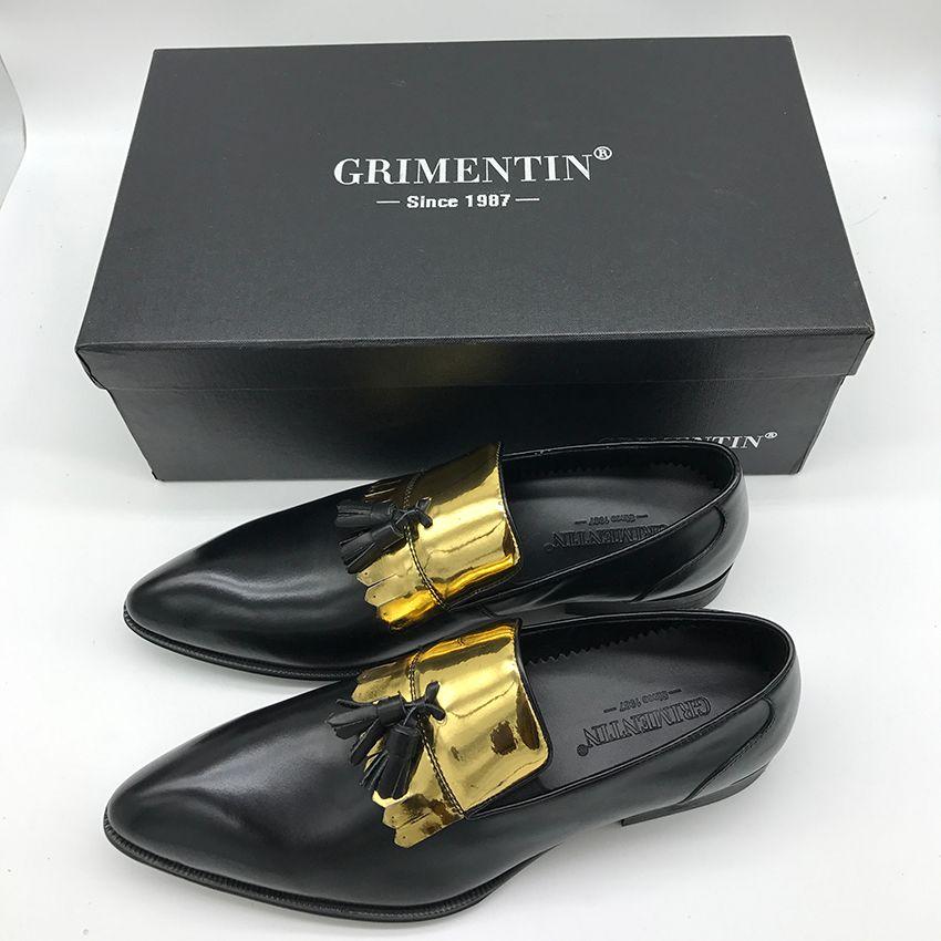 GRIMENTIN Fashion designer uomo mocassini vendita calda uomini vestito scarpe in vera pelle nappa slip-on formale business festa di nozze scarpe maschili