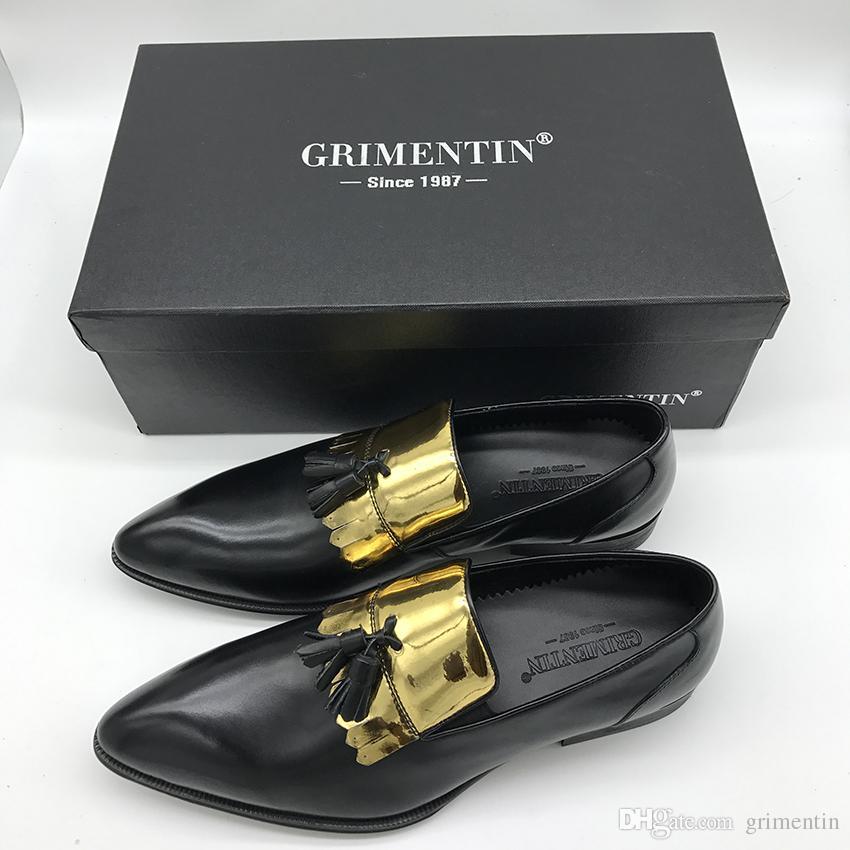 GRIMENTIN Модный дизайнер мужские мокасины горячие продажи мужские туфли из натуральной кожи кисточкой скольжения на формальных бизнес свадьба мужской обуви