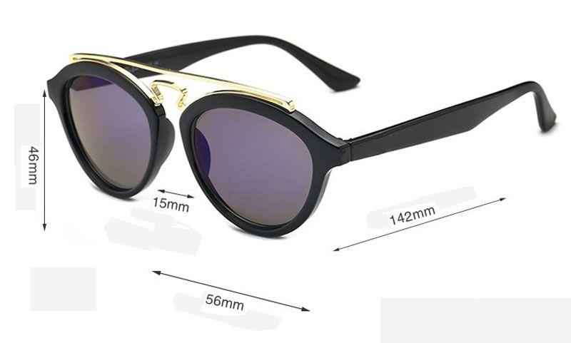 Moda de alta Qualidade Rodada óculos de Sol das mulheres dos homens Designer de Marca Olho de Gato Óculos de Sol uv400 Lentes Com Caixa livre e Caso marrom