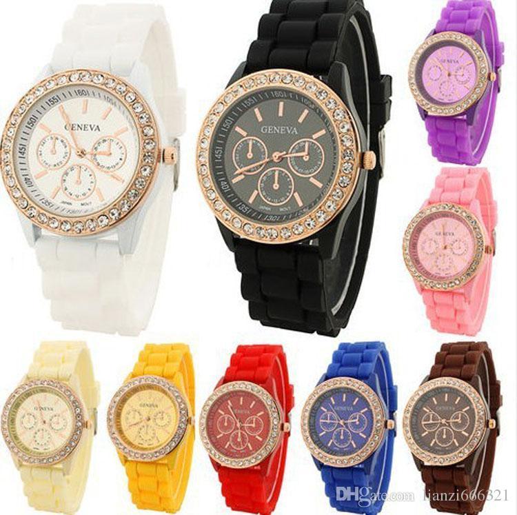 Nuevas llegadas! Bienes de lujo de lujo Lady marca GENEVA rose gold Diamond cuarzo jalea de silicona reloj para mujeres regalo de boda 1549