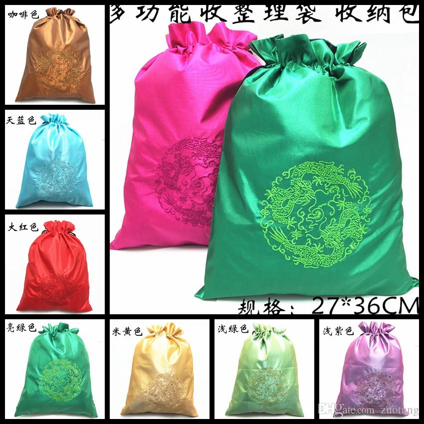 Embroidery Dragon Portable Storage Shoe Bag Travel Protective Case Chinese style Drawstring Silk Fabric briefs men's underwear pack Pouch
