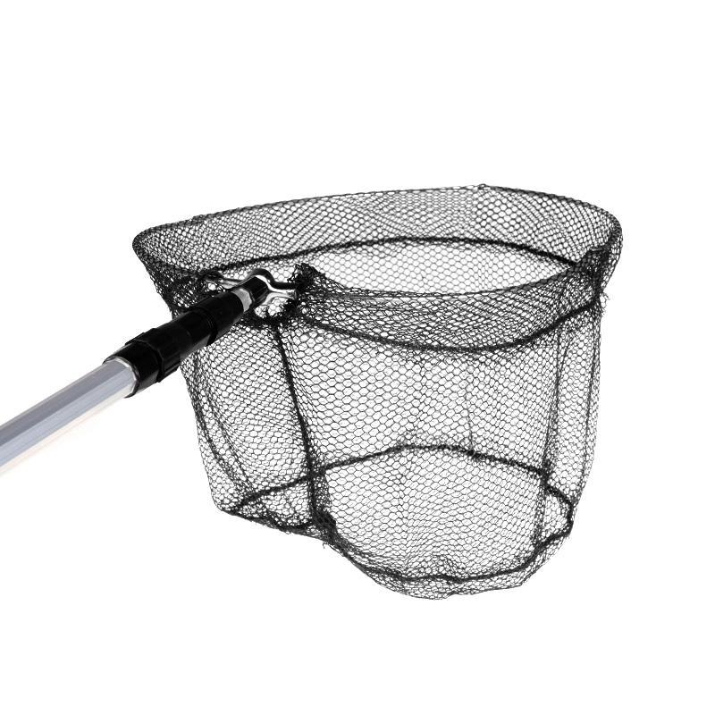 New 2in1 Micro Mesh & Aluminum Fishing Folding Landing Net & Extending Foldable Pole Handle Carp Fishing Net Black