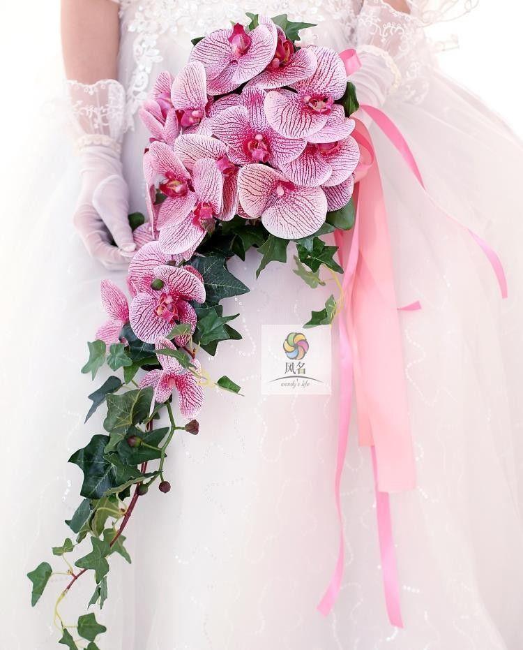 Real Touch Phalaenopsis Brides Wedding Flowers Waterfall Bridal ...