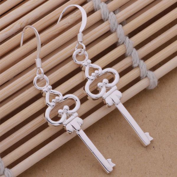 Mode fabricant de bijoux beaucoup Royal Key boucles d'oreilles en argent sterling 925 usine de bijoux Fashion Shine Earrings