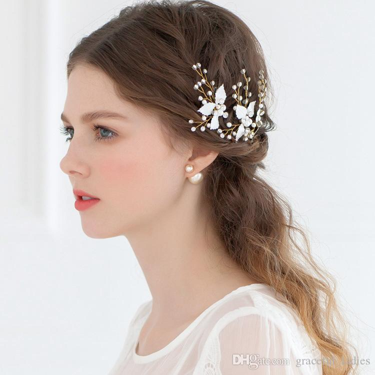 Cheap Bridal Hair Accessories Petite Enamel Leaf Bobby Pins Wedding Fashion U Shape Pin Tiaras For Headdress Real Image