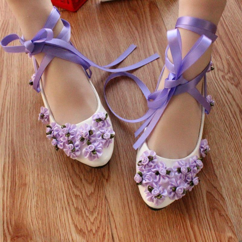 Purple Manual Wedding Shoe Flower Shoes With Flat Belt With Low ...