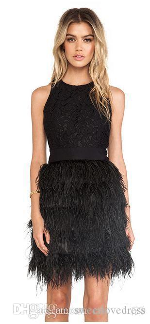 2017 Sexy Black Fashion Little Black Feather Lace Dresses Short Cocktail Party Jewel Neck Prom Dresses Girls Formal Homecoming Gowns