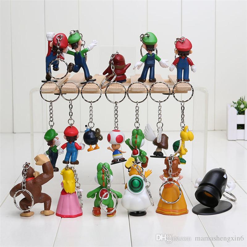 Süper mario anahtarlık bros luigi aksiyon figürleri 18 adet / takım mario hediye modeli anahtarlık bebek takı kolye oyuncaklar kayış