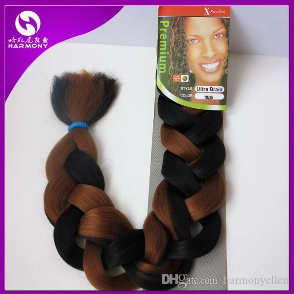 Neue Ankunft Ausdruck Flechten Haar Super Jumbo Braid Afro Haarverlängerung Zöpfe Kunsthaar spinnt 12 Farben erhältlich