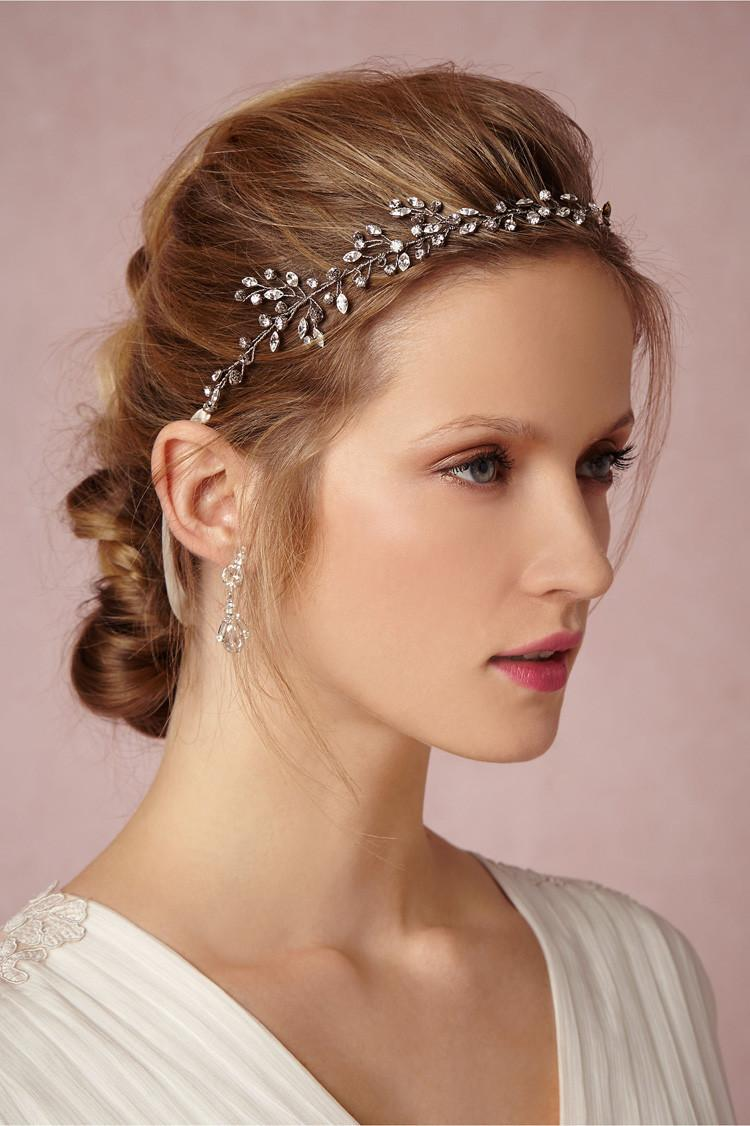 rhinstone pearl silver headband bridal hair vine jewelry wedding