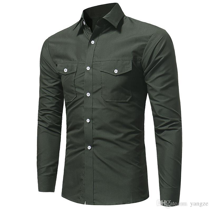 077158e9d1 Compre Ropa De Moda Para Hombres Nueva Camisa De Diseñador Con Doble  Bolsillo Camisa De Vestir Slim Fit Manga Larga LX4201 A  22.22 Del Yangze