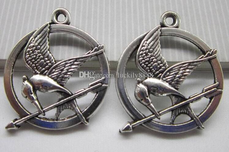 25mm ancient diy bronze silver bird hunger games badges charm pendant