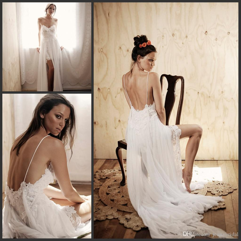 Discount Simple Beach Wedding Dresses 2015 Hawaii Wedding Gowns Spaghetti  Straps Appliques Lace With Chiffon Bridal High Side Slit Backless Dresses  Wedding ...