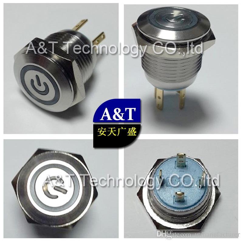 16mm 12V 블루 LED는 순간 스위치 금속 스테인레스 스틸 방수 IP67 래칭 푸시 버튼 해제 자동차 보트 전원 시작을 조명