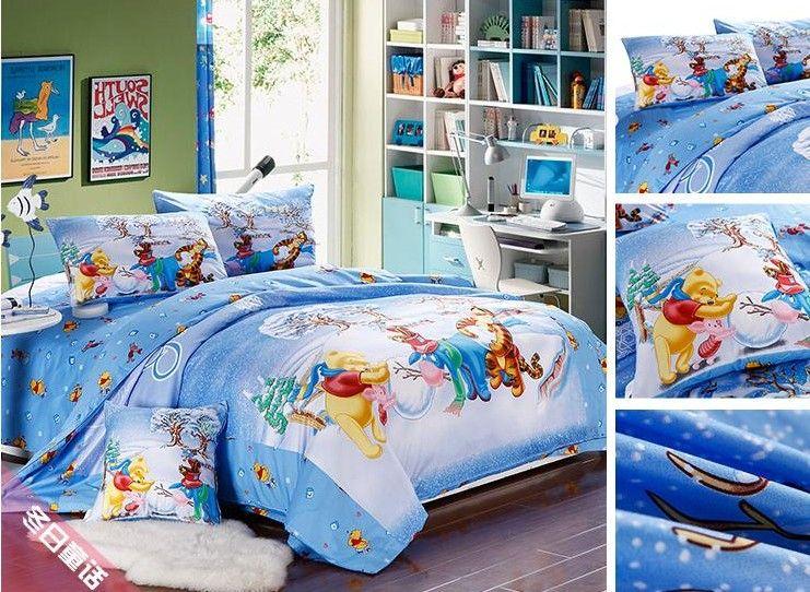 Christmas Bed Linen Sets Part - 36: Christmas Twin Full Queen King Blue Bedding Bed Linen Set Cartoon Winnie  The Pooh Tigger Print Duvet Cover Sheet Comforter Sets Full Size Bedding  Bedroom ...