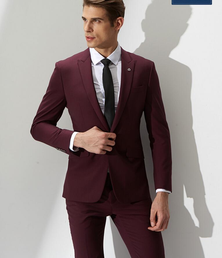 Best Red Wine Men'S Casual Suit Men'S Formal Fashion Simple One ...