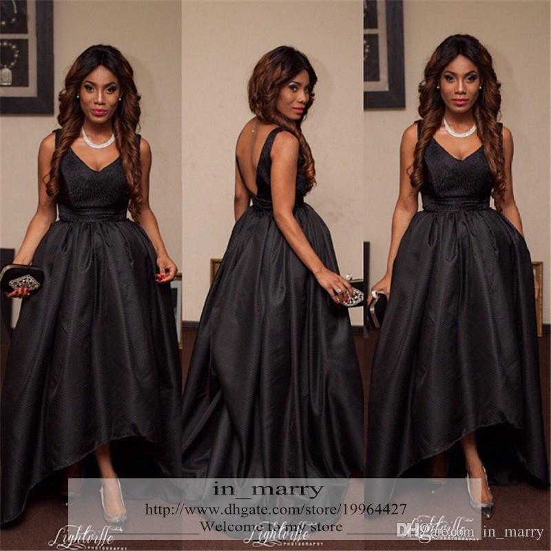 Black High Low Prom Dresses 2016 A Line V Neck Aso Ebi Style Plus