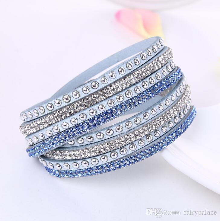 2017 Yeni Moda Katmanlı Wrap Bilezikler Slake Deluxe Deri Charm Bilezik Ile Köpüklü Kristal Kadınlar Kumsal Güzel Takı Hediye