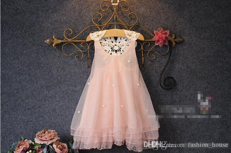 Mädchen spitze perle kleid 2015 neue liebenswerte prinzessin mädchen ärmelloses spitzenkleid kinderkleidung