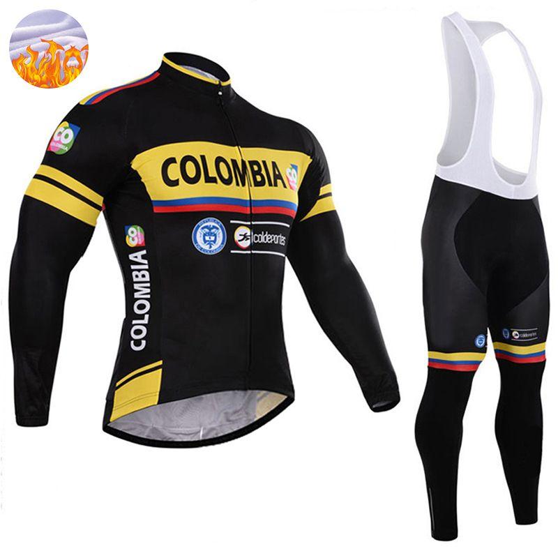 Colombia Team Pro Pantalones De Jersey De Ciclo De Invierno Set Ropa Ciclismo Mtb Pano Grueso Y Suave De Lana A Prueba De Viento Ciclismo Ropa Traje De Ropa De Bicicleta Por