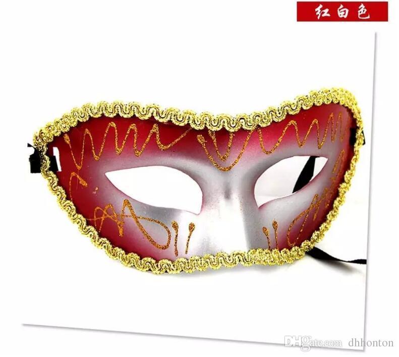 Masque vénitien mascarade partie mariage décoration fête partie déguisement masque de dessin coloré ou motif, demi-masque HT40