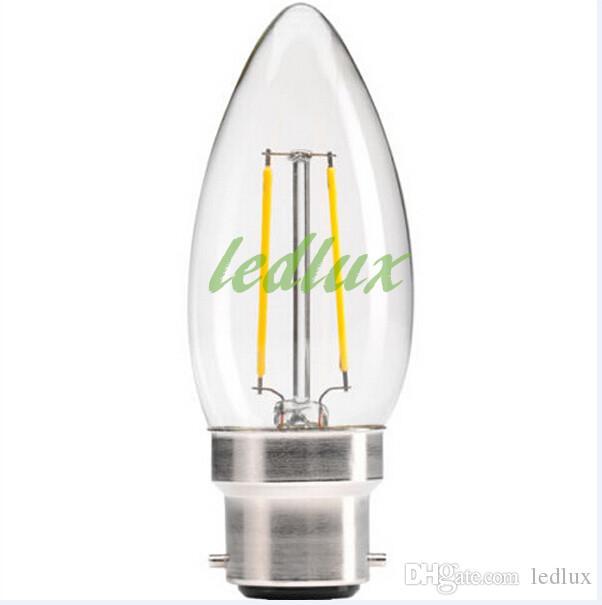 2015 جديد وصول 360 درجة 2 واط / 4 واط e27 e14 b22 led خيوط شمعة ضوء المصابيح Ra80 المتوهجة شكل عكس الضوء الصمام مصابيح شمعة