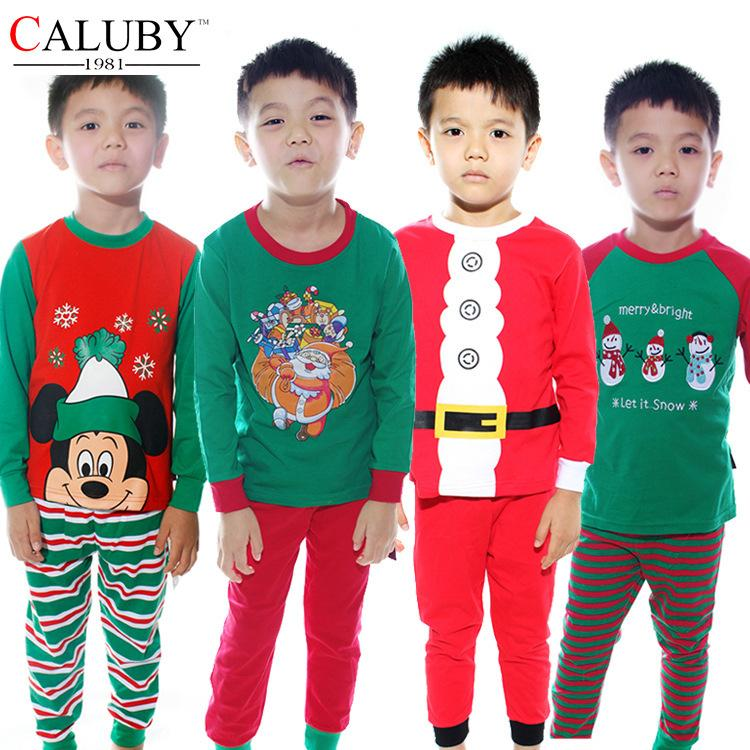 Kids Christmas Sleepwear Children Clothing Boys Suits Girls Cotton ...