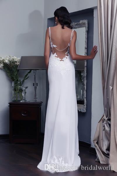 Backless Wedding Dresses Beaded Pearls Spaghetti Straps Chiffon Beach Sheath Wedding Dress Sweep Train Lace Applique Wedding Gowns