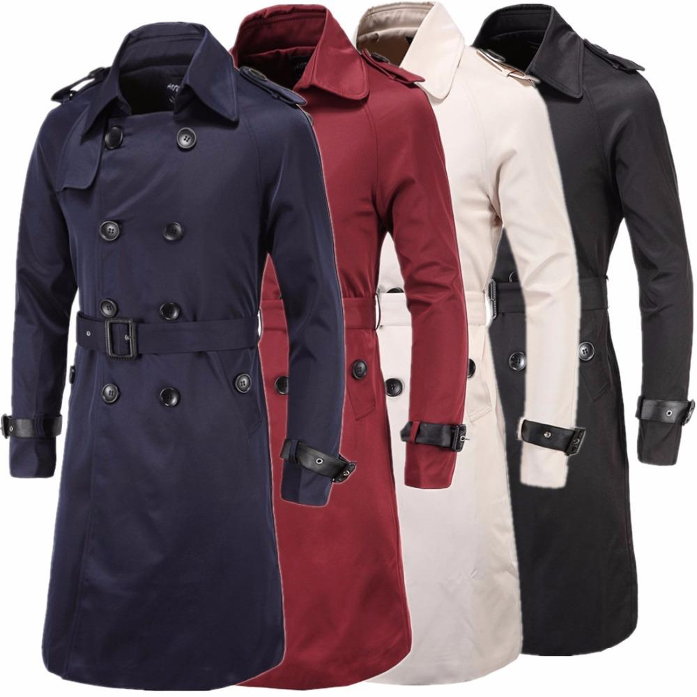 5c3c1d47d Long Trench Coat Men New Adult Jacket Mens Overcoat Boy Slim Double ...