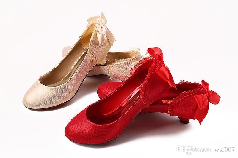 New Arrival 2015 Wedding Shoes Flats For Bride Gold Red Low Heel ...