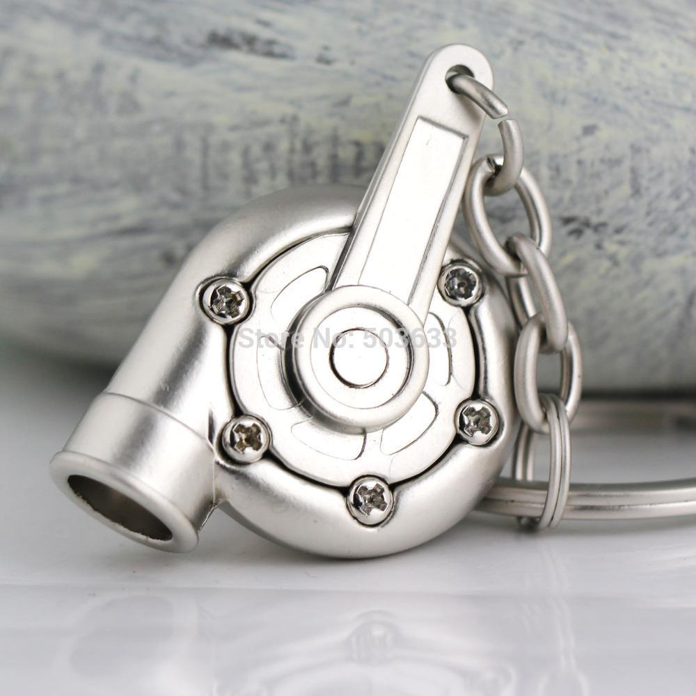 터보 키 체인 자동차 부품 모델 매트 실버 컬러 슬리브 회전 터빈 터보 차저 열쇠 고리 열쇠 고리 링 Keyfob