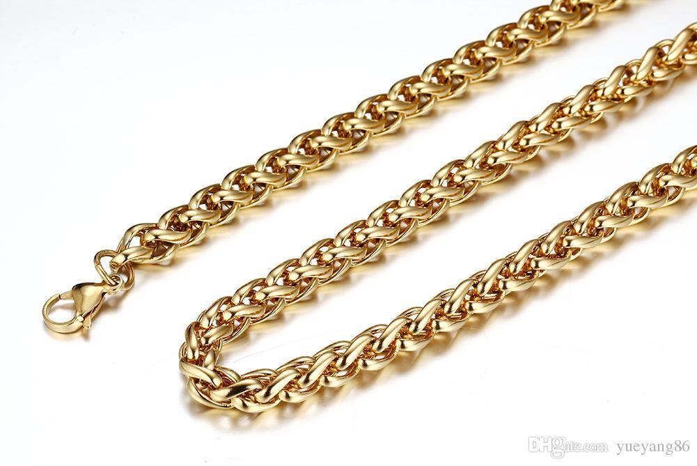 Üstün En Çok Satan Altın 7mm Paslanmaz Çelik Bükülmüş Buğday Örgü Curb zincir Kolye 28