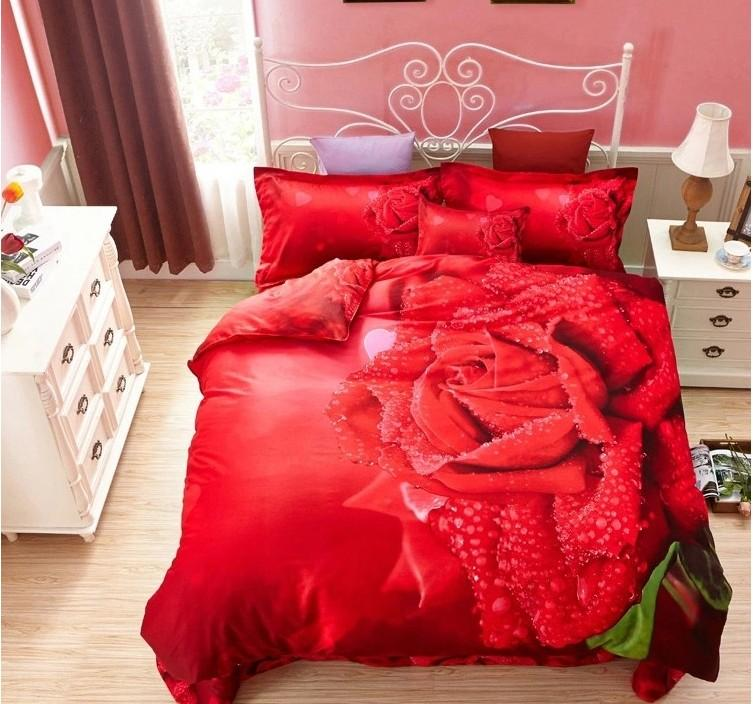 Charmant 3d Red Rose Wedding Bedding Set Quilt Duvet Cover Bedroom Bed Sheets Queen  Size Full Double Bedspread Bedsheet Linen 100% Cotton Queen Bedding Cute  Bedding ...