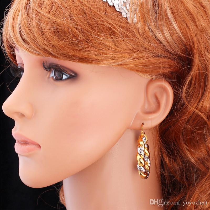 Orecchini a cerchio in oro 18 carati / orecchini placcati platino bicolore Orecchini a cerchio con mogli da pallacanestro ragazze