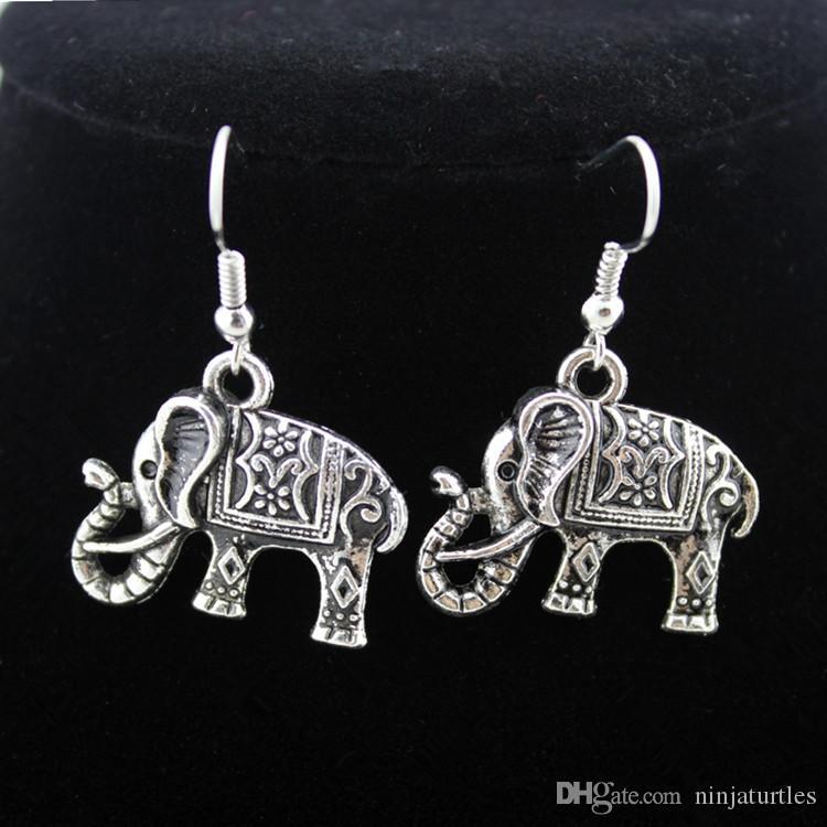 Commercio all'ingrosso / lotto Tibetan argento bella collana ciondolo elefante elefanti fortunati ciondola gli orecchini set di gioielli da donna ragazza TZ24