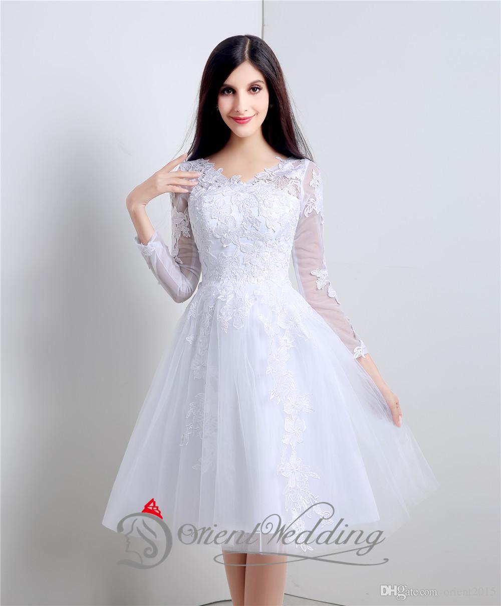 En existencia Negro / Marfil V cuello de manga larga de encaje de la  boda vestido