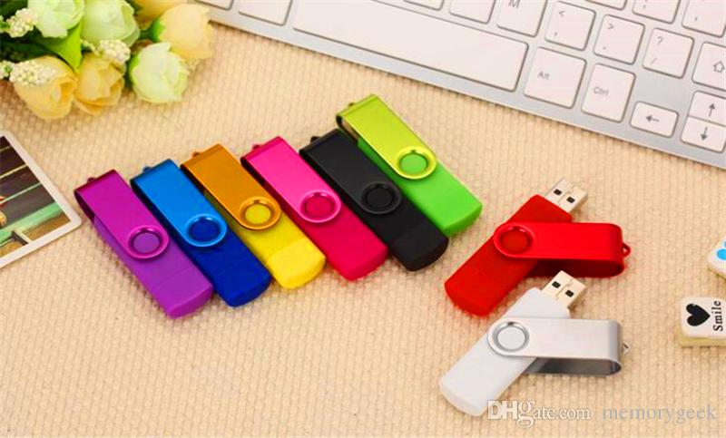 100% Real Capacity 2GB 4GB 8GB 16GB 32GB 64GB 128GB 256GB OTG external USB Flash Drive Memory Stick Metal in OPP Packaging