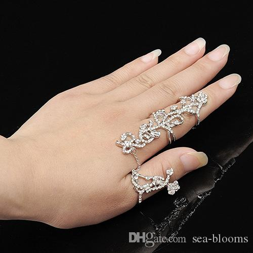 Hot Sale European and American Rings Multiple Finger Stack Knuckle Band Crystal Set Womens Fashion Jewelry Free FBA Shipping D300S