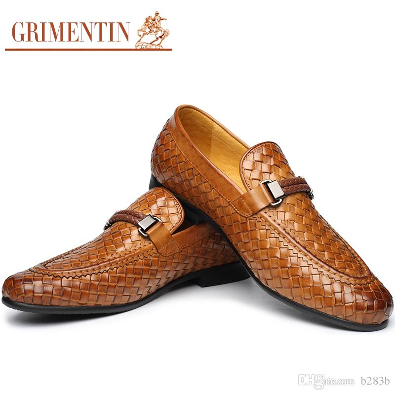 a396f5e1f37 GRIMENTIN 2018 Men Loafers Fashion Braided Mens Formal Shoes Genuine Leather  Comfortable Brown Black Italian Men Shoes Size 38 46 2ox999 Loafers Mens  Boots ...