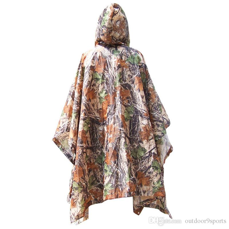 Outdoor Camouflage Triple Raincoat Jungle March Multifunctional Poncho Moisture Canopy Camping Picnic Mat Rain Wear for Sale