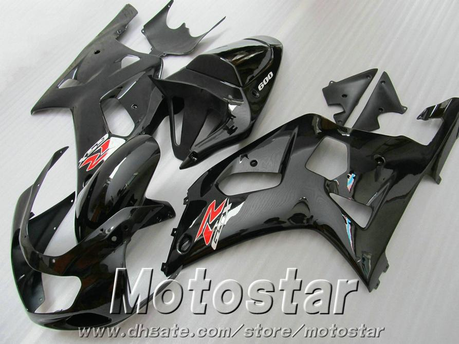 Plastic aftermarket parts for SUZUKI GSX-R600 GSX-R750 2001-2003 K1 ABS fairing kit GSXR 600 750 glossy black fairings set 01-03 RA98
